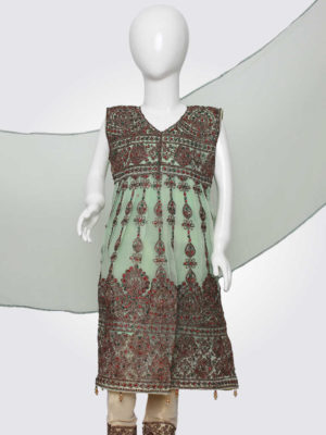 Mint Embroidered Anarkali Frock