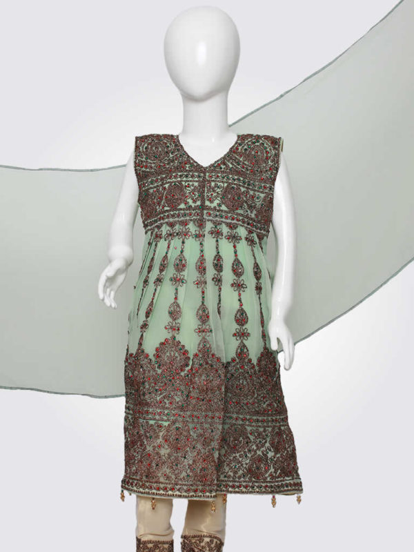 Mint Embroidered Anarkali Frock