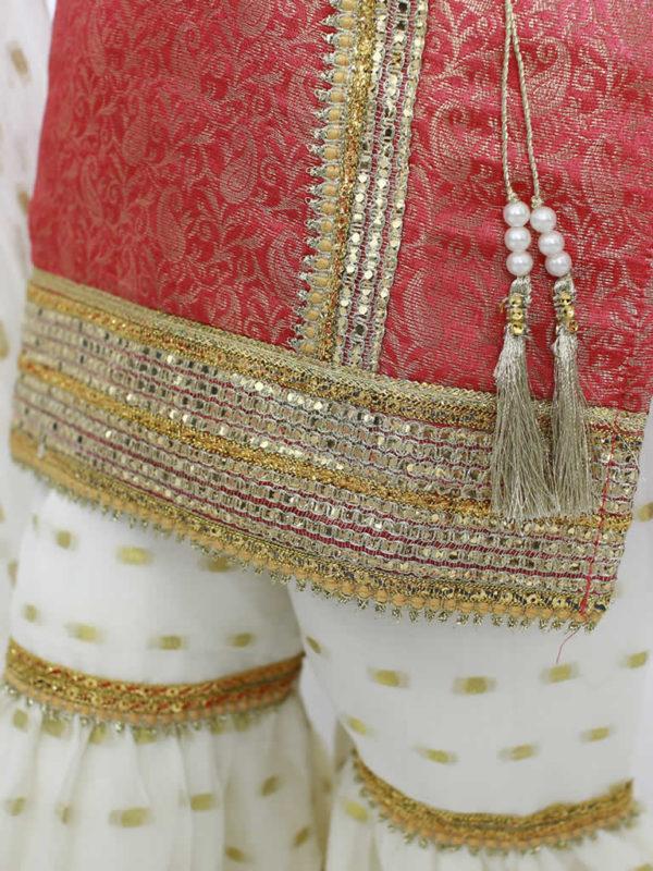 Pink White Gharara
